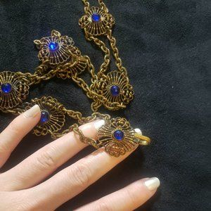 Vintage Belt Brass Blue Stones